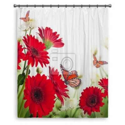 Multi Colored Gerbera Daisies And Butterfly Shower Curtains