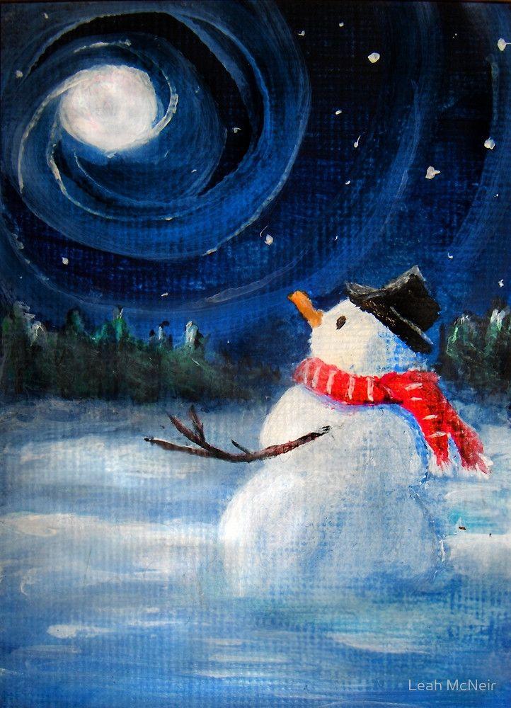 Snowman Gazes at Night Sky & Moon - Folk Painting .  by Leah McNeir