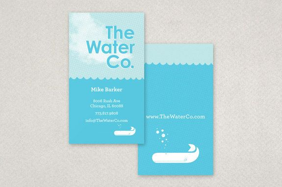 Illustrative Water Utilities Business Card Template - A water utilities company could utilize this business card for employees. The illustrative style of the business cards adds a playful element while still maintaining a degree of professionalism essential to a utilities company.