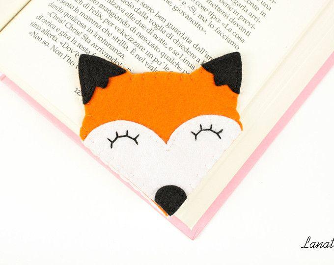 Segnalibro volpe in feltro, segnalibro ad angolo animali, accessorio per la lettura, regalo appassionato di libri, fatto a mano in Italia