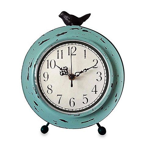 This Sweet Table Clock With A Distressed Aqua Finish Features A Charming,  Easy To