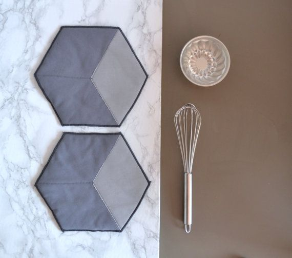 hexagon cotton potholders - grey honeycomb shape potholders - hexie hot pads - modern kitchen potholders - housewarming gift