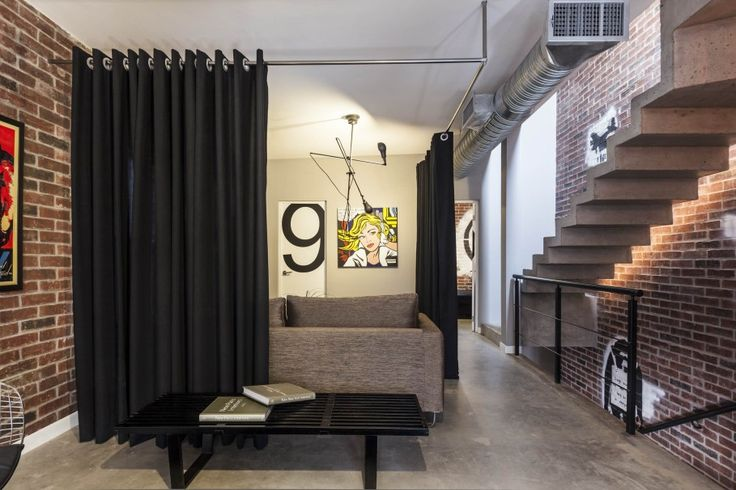 Magnificent-Fabric-Room-Dividers-Ideas-in-Black-Color-with-Silver-Pipe-for-Bedroom-909x606.jpg (909×606). Room divider