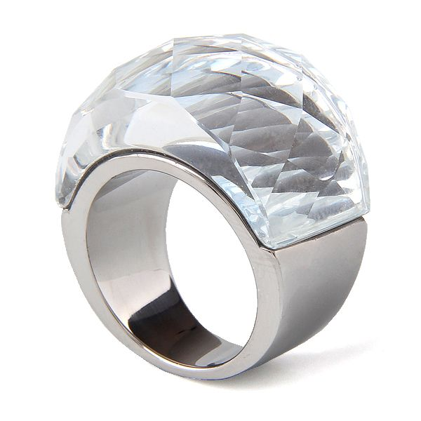 Fashion Women Luxury Brand Crystal Jewelry Ring 316L Stainless Steel White and Black Transparent Cut Crystal Ring