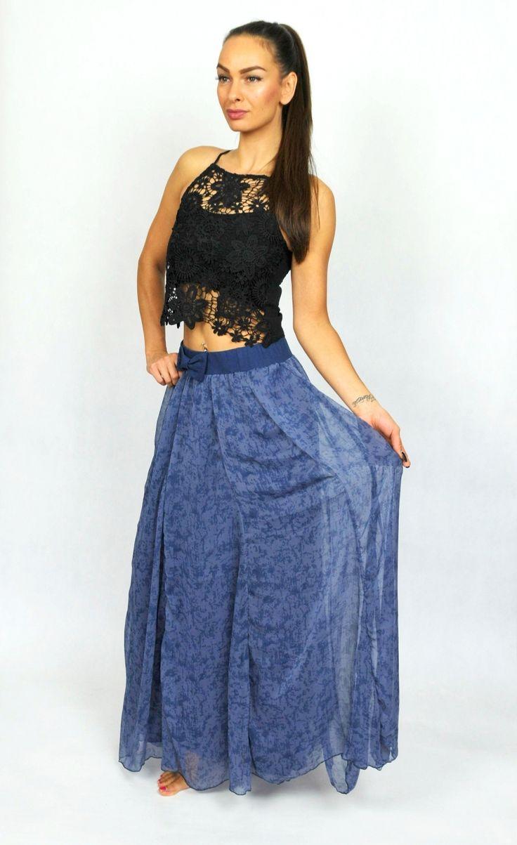 Hedvábná šifonová maxi sukně - modrá