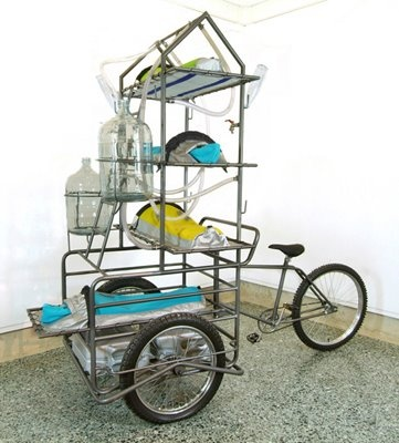 """Mobile intervention unit, 2005 - 'Lucy Orta was trained as a fashion designer and began working as an artist in the beginning of the 1990's to create what she called """"architectures with soul""""'"""