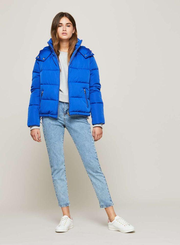Blue Oversized Hooded Puffer Jacket - Coats u0026 Jackets ...