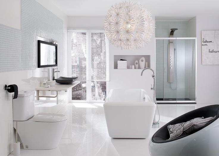 Salle de bain monochrome. 100% white !  #salledebainchic #salledebainépurée