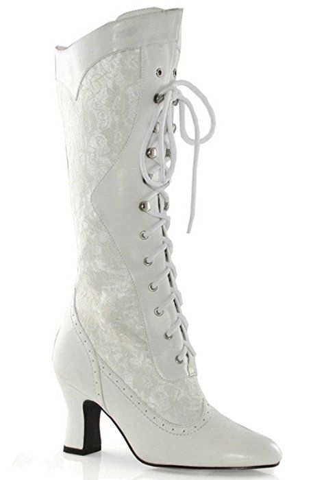 5f5e1f388c5f9 Amazon.com: Women's 2 1/2 Inch Heel Boot With Lace (White;6 ...