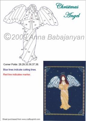 Christmas Angel on Craftsuprint designed by Anna Babajanyan - Very beautiful Christmas Angel pattern. Can be used for cards or Wall-art too. - Now available for download!