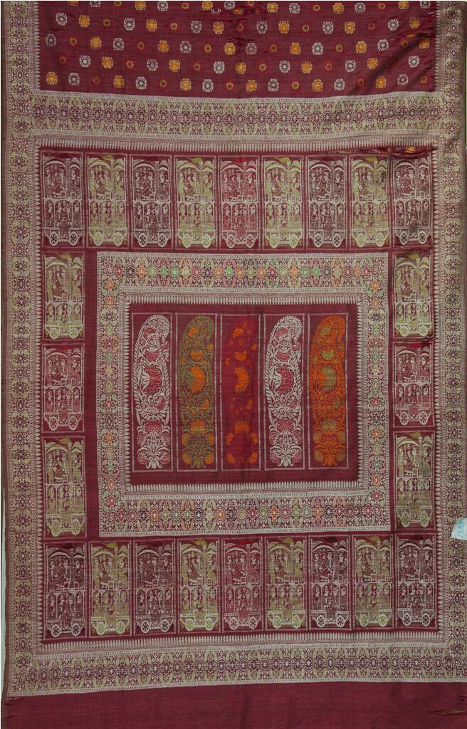 A Beautiful Maroon Baluchari- a reminder of the Golden Days