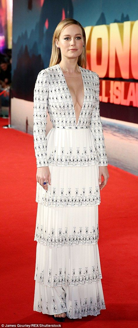 Stunning: Brie Larson looked incredible at The Kong: Skull Island premiere in London's Lei...