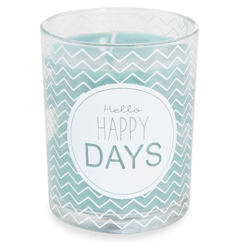 Blauwe glazen kaars H 10 cm HELLO HAPPY DAYS / MAISONS DU MONDE