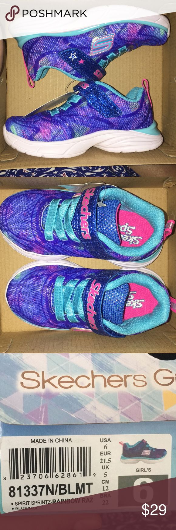 Skechers Girls shoes Brand new in box rainbow Raz little girls size 6 for about 18 months.velcro strap and elastic shoelaces.  Bundle up with my other children's clothes, women's clothes and save on shipping. Skechers Shoes Sneakers