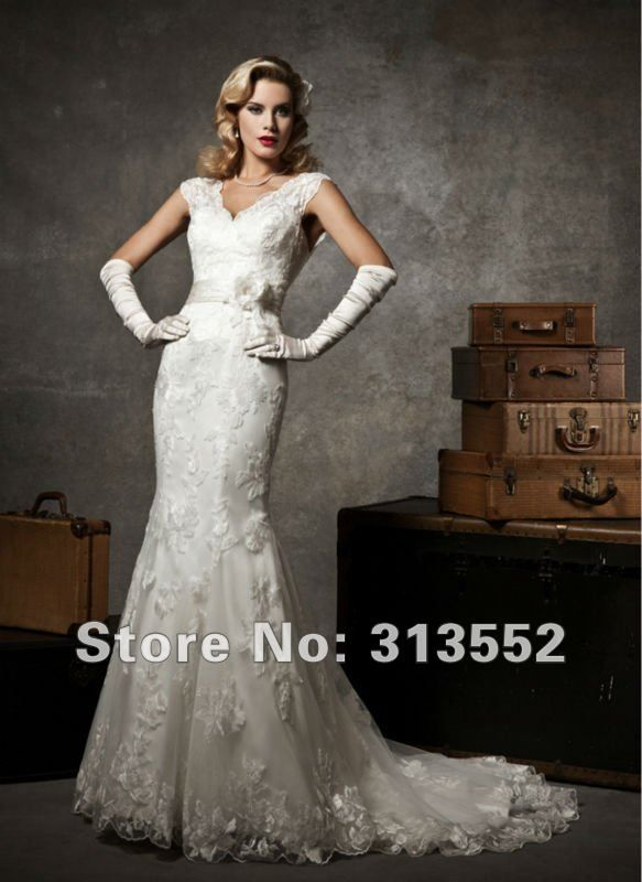 Vintage Inspired 1920s Mermaid Lace Wedding Dress with V Neck & Back by Justin Alexander for Frer Shipping $245.00