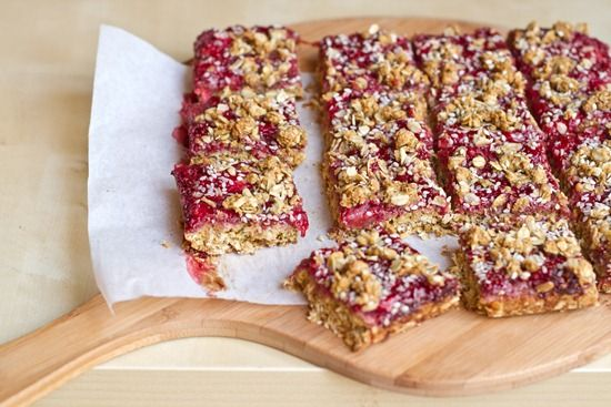 healthy strawberry oat squares with homemade jam  {Oh She Glows}