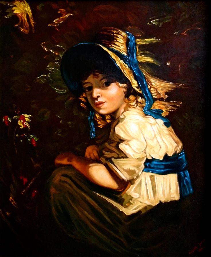 Portret dziecka, W ogrodzie,  48cm x 39,5cm,  Obraz olejny na płótnie