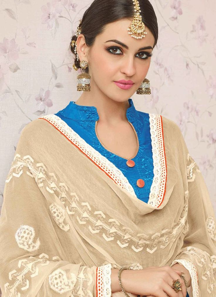 Buy Lace Work Blue Churidar Suit Online : UK - Churidar Suits
