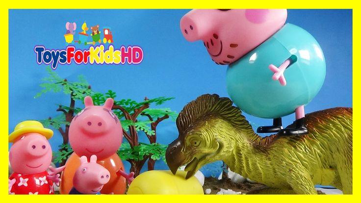 Peppa Pig Salva los Huevos de Dinosaurios para niños - Videos de dinosau...