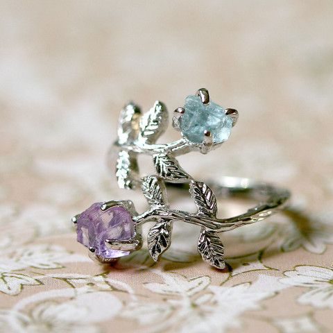 Pink Amethyst,Aquamarine,Stone ring,Ring,Adjustable Ring,Rough Stone Ring,Raw Stone Ring,Raw Crystal Ring,Olive Ring,Leaf ring