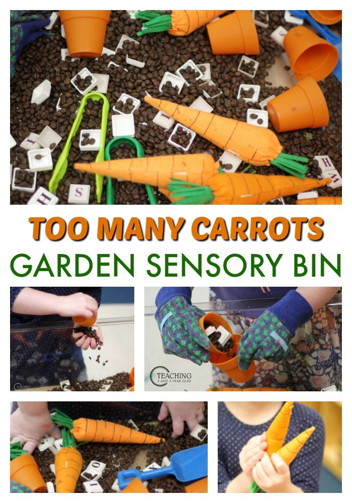 This preschool spring sensory bin goes nicely with the garden theme, especially if you've read the book Too Many Carrots. We've added tongs, gardening gloves, and stuffed carrots for a fun fine motor activity! #gardening #spring #sensorybins #literacy #preschool #preschoolers #AGE3 #AGE4 #finemotor
