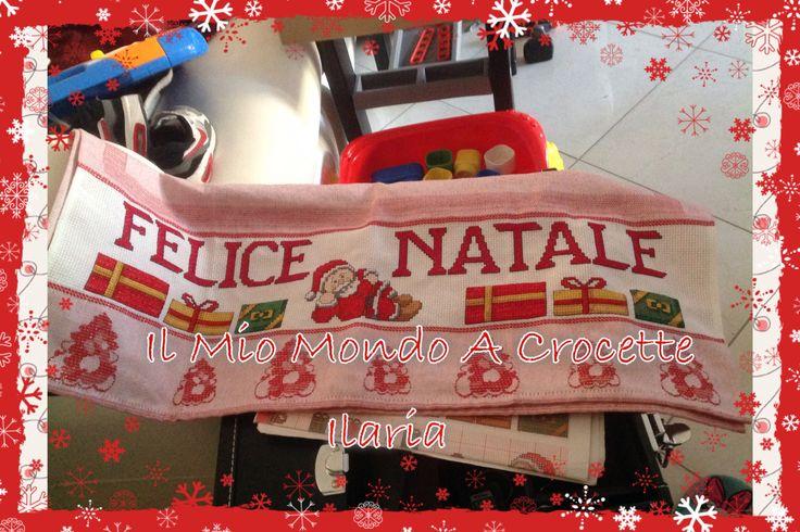 Regalo Natalizio che ho confezionato per la suocera, strofinaccio Felice Natale!