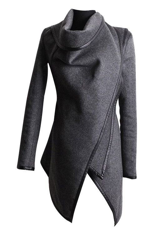 A fashion trench coat is what we wardrobe needs and it will update our fashion look. This is a  jacket outerwear with high neck, front wrapped design, button fastening and  irregular hem, Just pair it with your jeans.