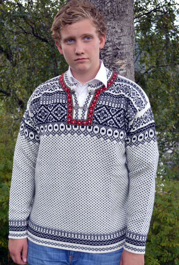 Rundemann sweater - the iconic, classic Norwegian Sweater - knitted in 100% wool with pewter hooks and wool braiding. The rich intricate design is inspired by the patterns used in the Setesdal area of Norway - arguably the most traditional and well known patterns being used in Nordic sweaters. Sizes S-XXL. Available in two colour combinations as well as a cardigan version. Made in Norway
