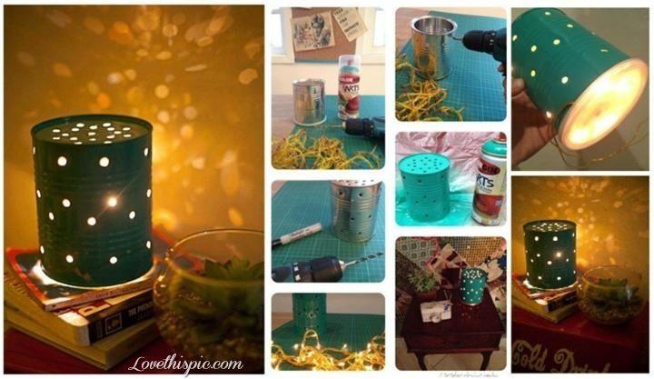DIY Tin Light decorations: Diy Ideas, Lamps, Candle, Lighting, Diy Craft, Tin Cans, Craft Ideas, Crafty Ideas, Crafts