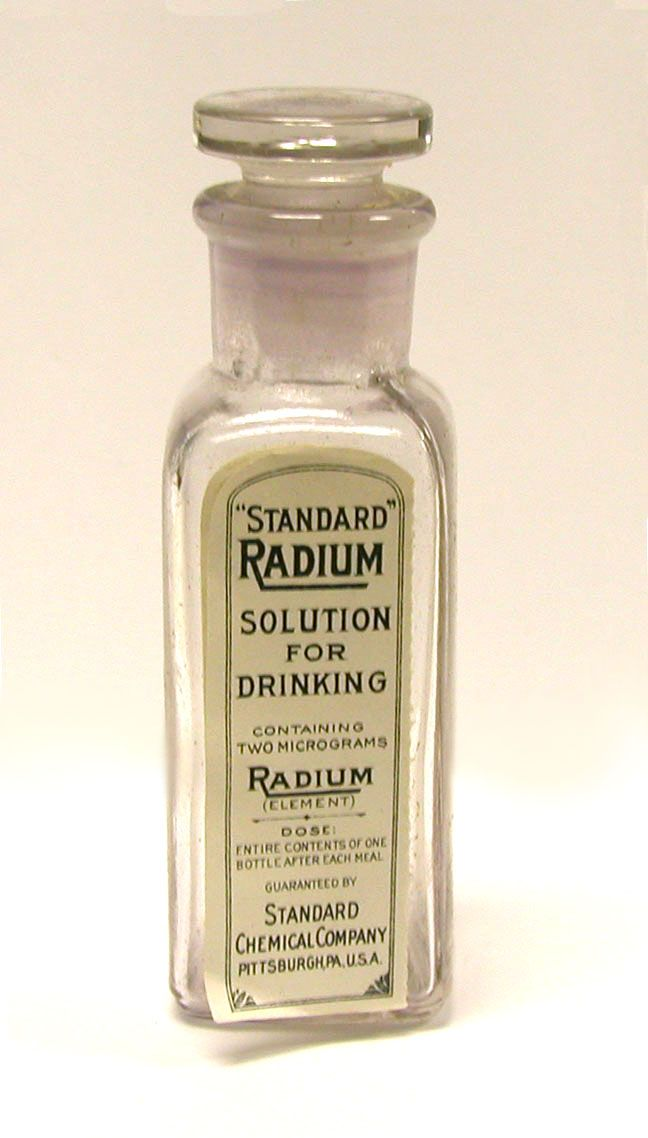 """Standard Radium Solution for Drinking (c.1915 - 1920).    produced by the Standard Chemical Company of Pittsburgh.  According to the company's advertising it would help with """"Subacute and Chronic Joint and Muscular Conditions. High Blood Pressure. Nephritis. The Simple and Pernicious Anemias."""""""