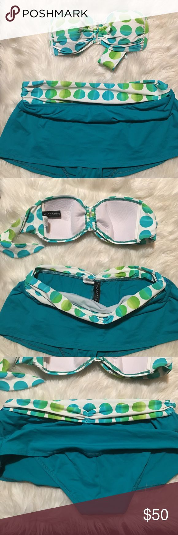Polka dot swim suit Excellent condition. Beautiful teal and ombré green polka dots Bandeau bra top ; Skirted bikini bottom. Silver hardware. La Blanca Swim Bikinis