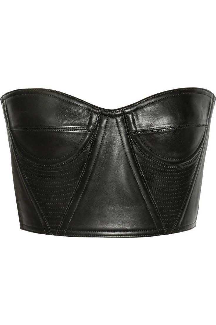 Balmain leather bustier