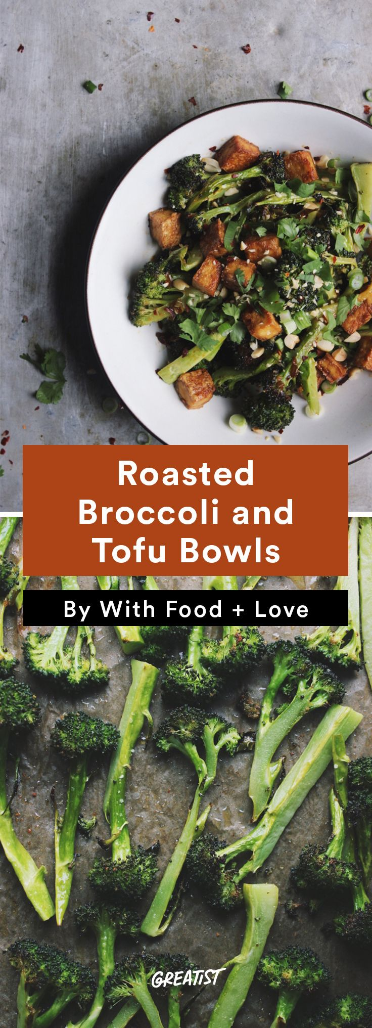5. Roasted Broccoli and Tofu Bowls #easy #vegetarian #dinners http://greatist.com/eat/vegetarian-dinner-recipes-that-bake-in-one-pan