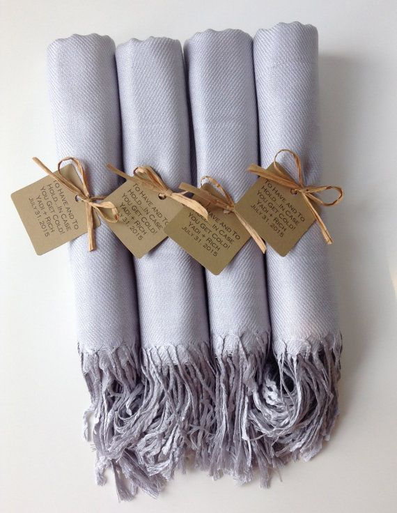 Set of 4 Light Silver Shawls with Favor Tags, Pashmina, Scarf, Wedding Favor, Bridal Shower Gift, Bridesmaids Gift, Wraps,