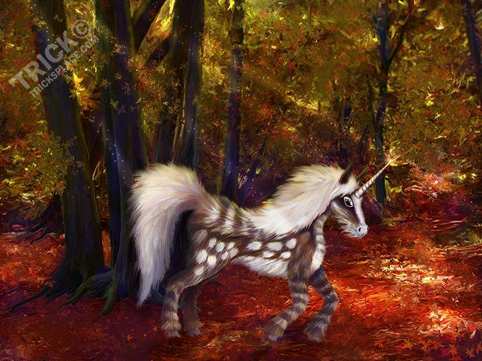 Autumn Spotted Unicorn - Original fantasy artwork created by 'Trick Slattery  http://tricksplace.com/autumn-spotted-unicorn/