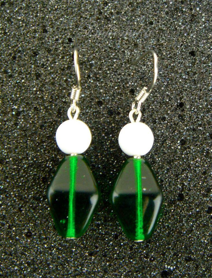 Vintage Czech Glass Earrings New Old Stock Emerald Green Silver Tone Hook Dangle #Unbranded #DropDangle