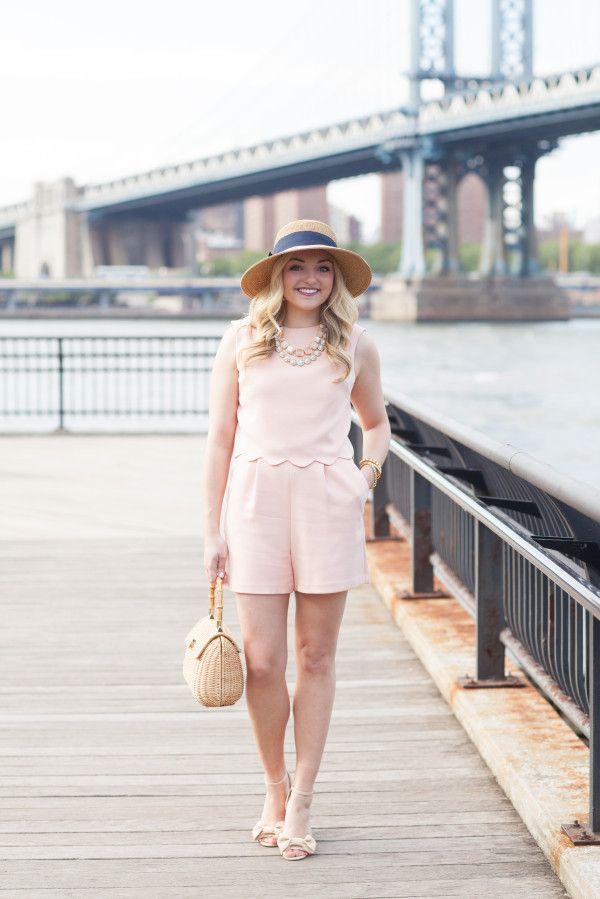 Preppy Summer Outfit: Scalloped Romper, Wicker Handbag, Bow Wedges, Sun Hat // @bowsandsequins