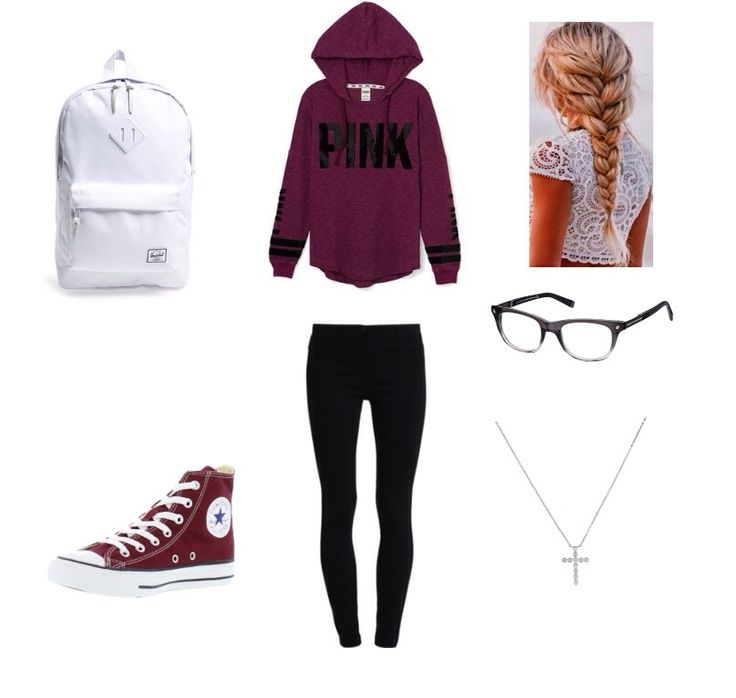 Back to school Pink maroon sweatshirt  Black jeans White backpack Maroon converse  Black glass Cross necklace  French braid