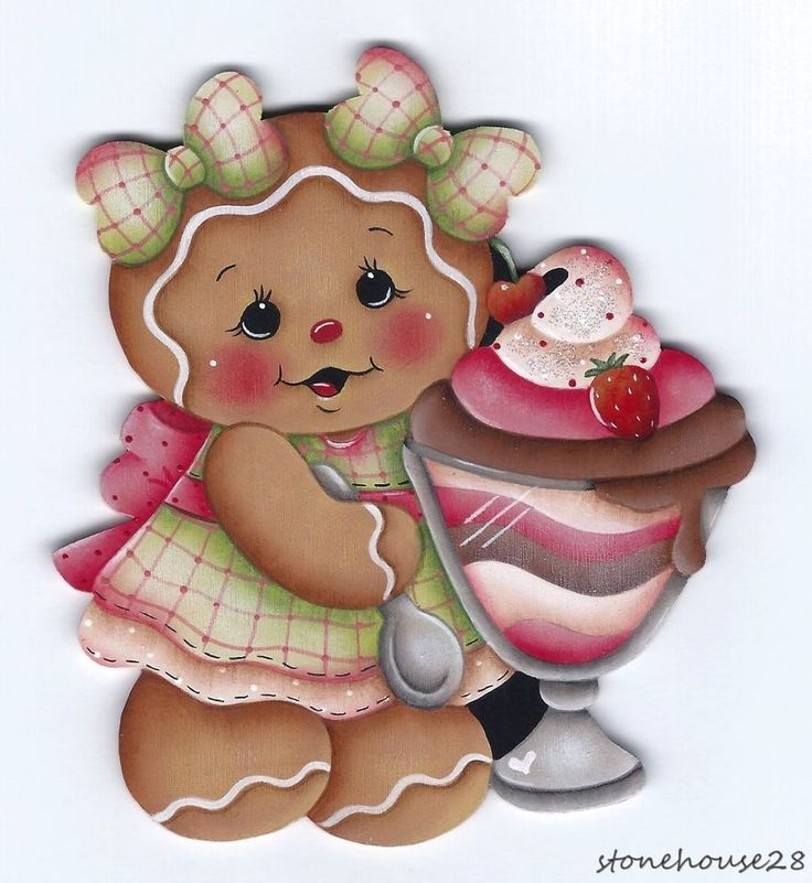 HP GINGERBREAD with Sundae FRIDGE MAGNET #Handpainted