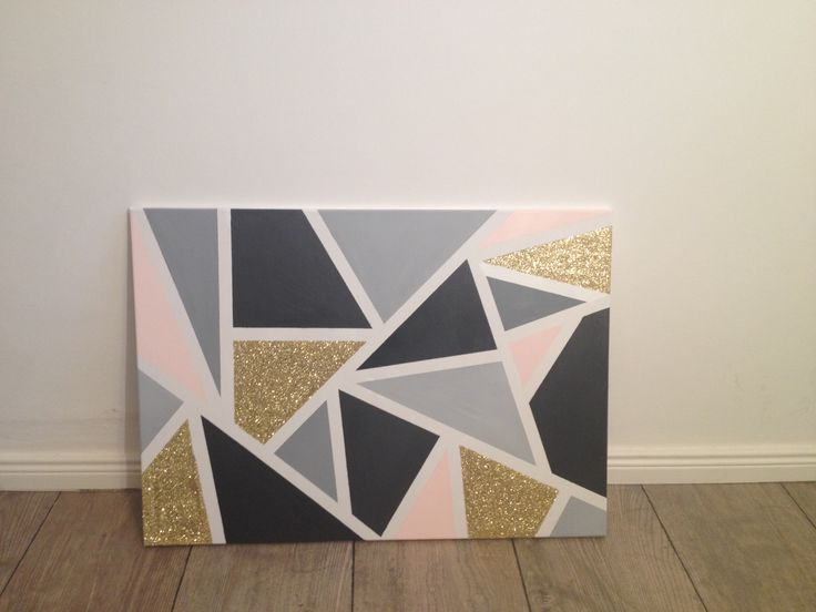 Triangle painted canvas, gold light grey, dark grey, whit and soft pink,  just mask where you want to be white and paint away! such a easy diy!