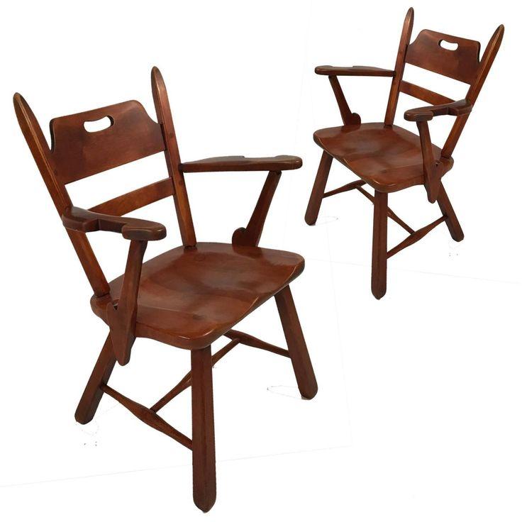 Pair Of Cushman Vermont Hard Rock Maple Americana Armchairs By Herman  DeVries