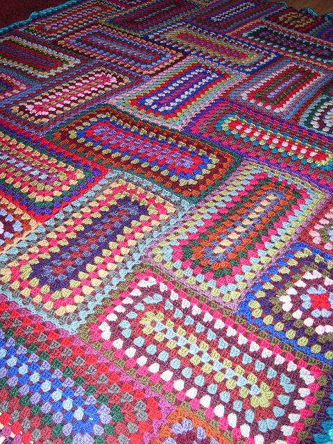 Granny rectangles #crochet #afghan #blanket #throw