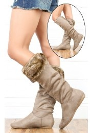 Moss01 Fluffy Slouch Knee High Flat Boots TAUPE