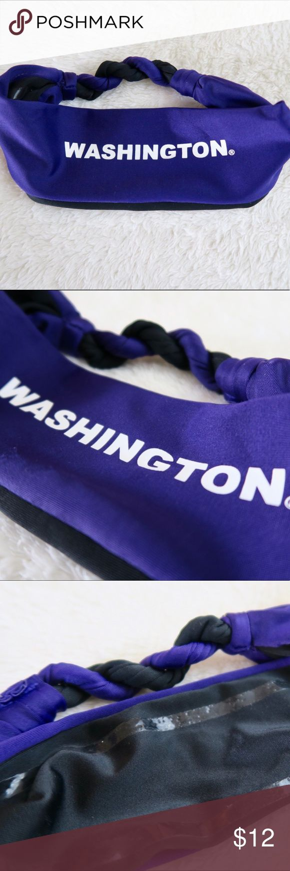 University of WASHINGTON Braided Non-Slip Headband Perfect for exercising, especially Running or other vigorous activity. This headband is one size fits most and has non-slip material on the inside so it can stay put. The back of the headband is braided, just another nice little touch that makes this headband stand out. The color is PURPLE and the lettering is all caps, white, and says WASHINGTON. Purchased from the UW bookstore. No trades. Feel free to make an offer or bundle for additional…
