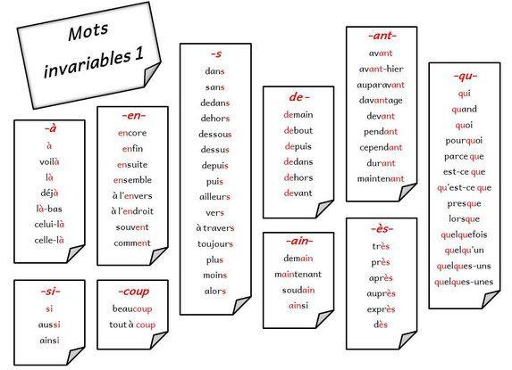 Mots invariables : fichier de dictées adaptées