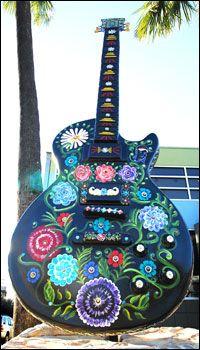 Por Vida Guitar - Visual Artist: Kathy Marcus - Display Location: Waterloo Records, 600 N. Lamar Boulevard