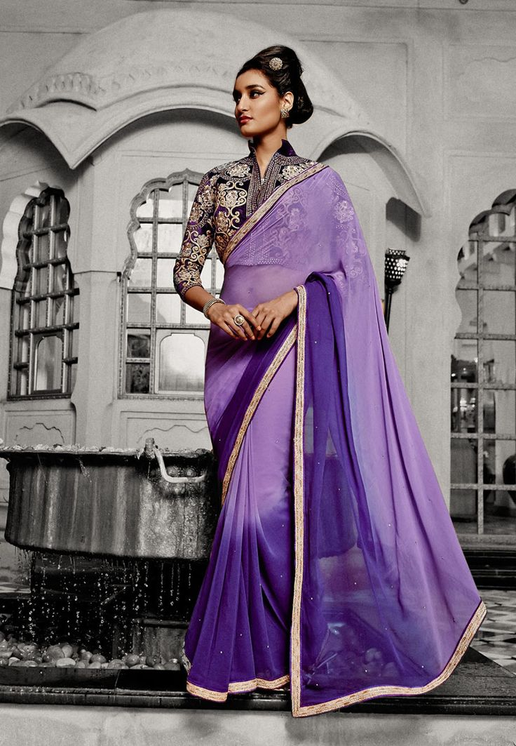 Marvelous Purple Embroidered Georgette Party Wear Saree