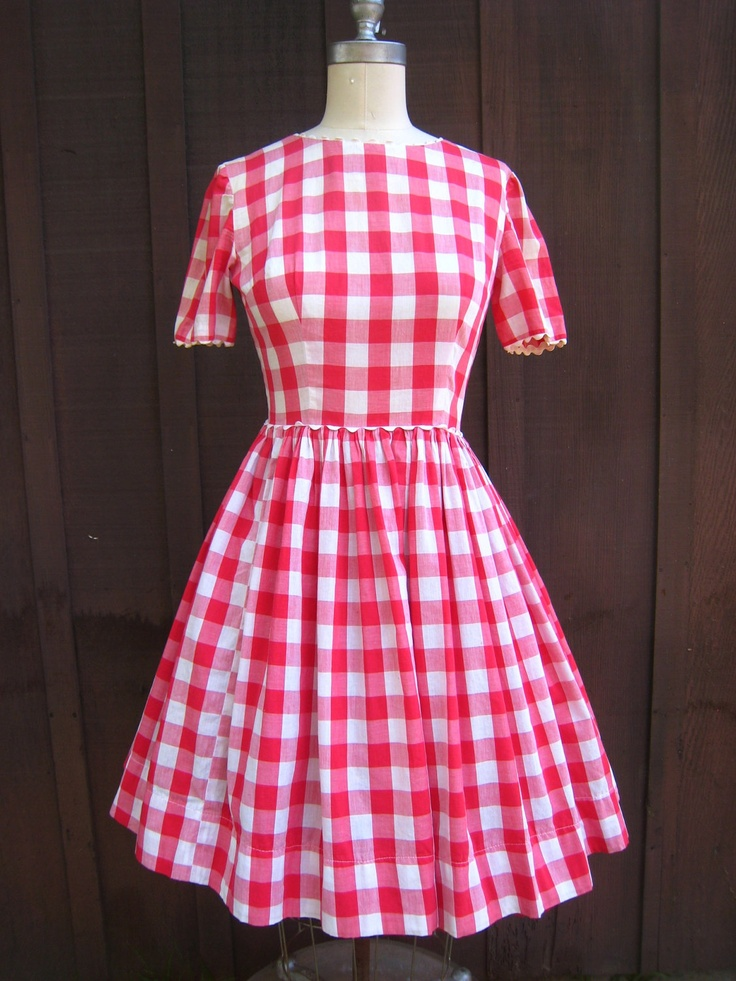 Vintage Red Checkered Picnic Tablecloth Gingham Country Style Dress  Rockabilly Ready. $28.00, Via Etsy
