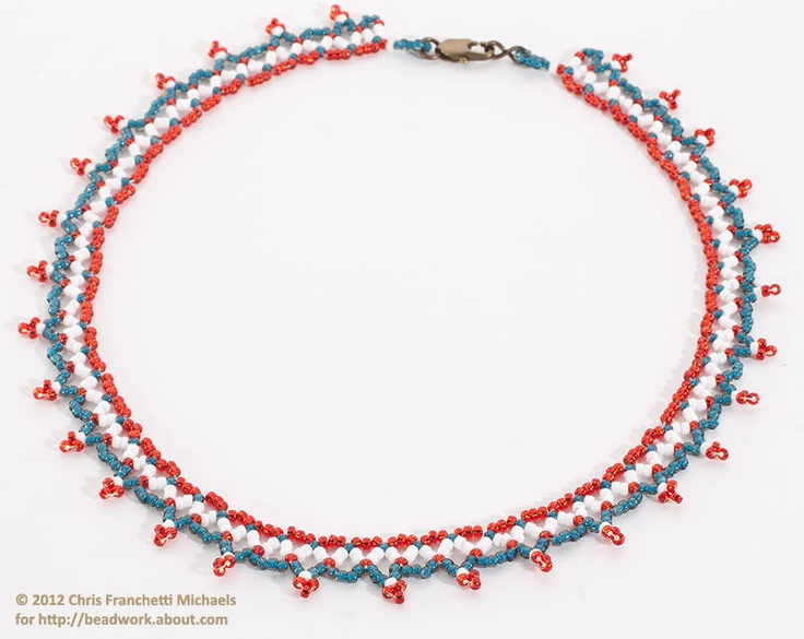 Patriotic embellished chevron stitch necklace beaded for Patriotic beaded jewelry patterns
