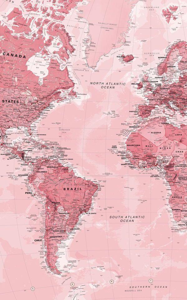 Pink World Map Wallpaper Mural Papier Peint Carte Carte Du